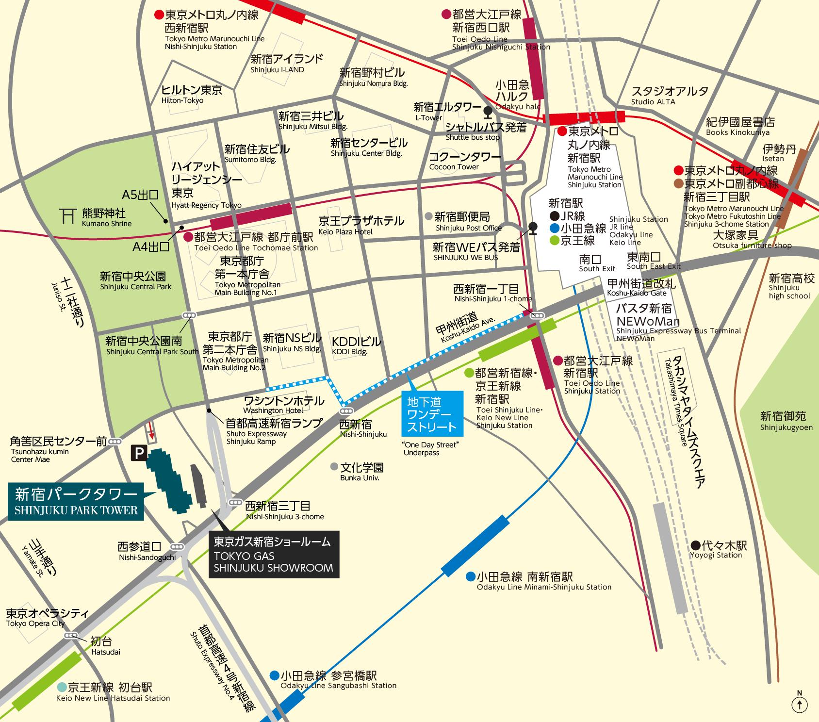 JR新宿駅をはじめ私鉄・地下鉄各線からアクセス可能です。